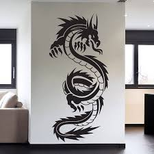 aliexpress com buy removable high quality vinyl wall art decals aliexpress com buy removable high quality vinyl wall art decals sticker chinese dragon tribal tattoo wall art decal art home decor paper a 97 from