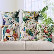 coussin imprime plantes tropicales hibiscus fleur ananas coussin couvre oiseau