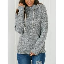 womens sweater light gray one size hooded sleeve pocket design s