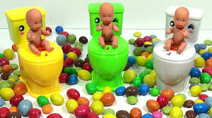 baby dolls and toilet toys funny surprises in slime colours candy
