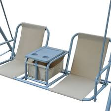Covered Patio Furniture - outsunny 2 person covered patio swing w pivot table u0026 storage
