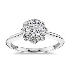 floral engagement rings floral halo diamond engagement ring in 14k white gold 1 10 ct tw