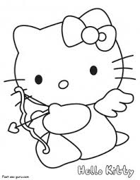 kitty coloring pages valentines cupid printable