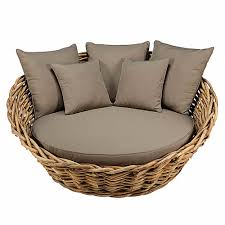 canape rond exterieur canapé rond de jardin en rotin et coussins taupe maisons du monde