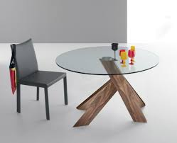 Glass Top Dining Room Table And Chairs by Round Modern Stretched Glass Top Dining Table Feature Wood Base