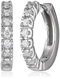 white gold diamond hoop earrings 10k white gold diamond hoop earrings 1 4 cttw h i