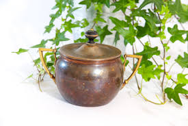 copper sugar bowl vintage sugar bowl with lid metal sugar bowl