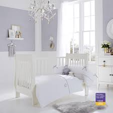 clair de lune white silver lining cot cot bed quilt and bumper