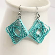niobium earrings square spiral swirl geometric aqua niobium honeysquilling