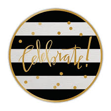 celebration plates celebrate gold foil black stripe paper plates birthday party