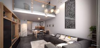 Loft Modern by Modern Small Loft Studio Interior Design With Sectional Sofa