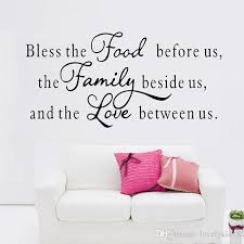 Bless Food Family Love Wall Stickers Religious Quotes Wall Decals - Family room wall decals