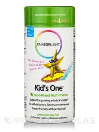 rainbow light kids one one chewable multivitamin minerals fruit punch flavor 30