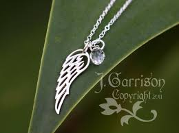 sterling silver charms necklace images Angel wing sterling silver charm necklace swarovski crystal jpg