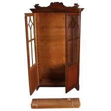 antique swedish gothic revival oak and veneer glass door bookcase