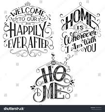 home decor quotes signs set isolated stock vector 599899949