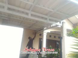 pemasangan kanopi baja ringan atap alderon pengecatan di taman