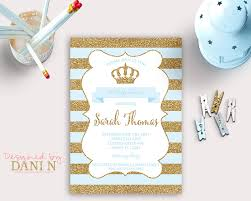 a new prince baby shower baby shower invitation prince baby shower blue and gold
