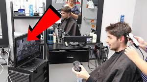 playing my playstation while getting a haircut so funny youtube