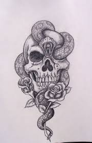 black ink snake in skull with roses tattoo design by david longcrier