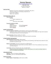 Resume For Artist Resume For First Job Examples First Resume Example First Resume