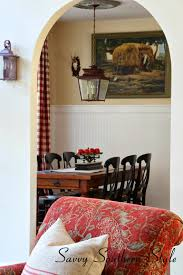 vintage french farm table in french country breakfast room