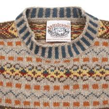 jamieson s crew neck fair isle jumper in orange s edinburgh