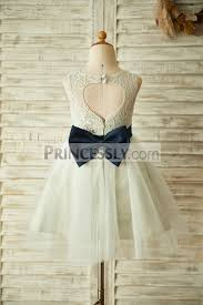 bow belt keyhole back silver gray lace tulle wedding flower girl dress with