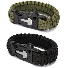 survival bracelet with whistle buckle images Paracord bracelet with flint fire starter scraper and whistle jpg