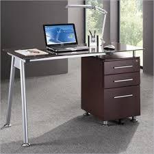 Glass Top Computer Desks For Home Techni Mobili Tempered Glass Top Computer Desk In Chocolate