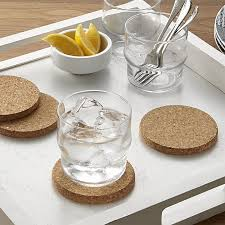 cork coasters set of 4 cork coasters in bar accessories reviews crate and barrel