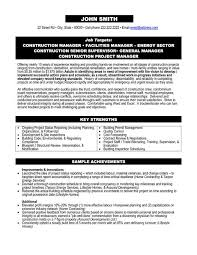 Resume Template Project Manager Download Construction Project Manager Resume Examples