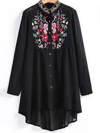 black button blouse embroidered button up dip hem blouse shein sheinside