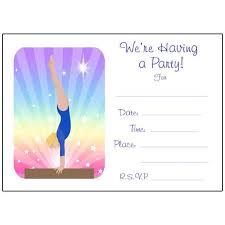 party invitations gymnastics dreams fill in the blank birthday party invitations