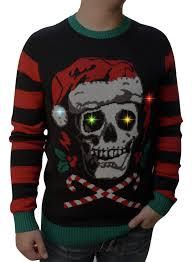 skull sweater sweater s skull santa hat light up pullover