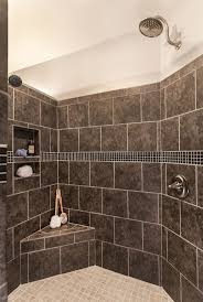 shower neutral and black mosaic pebble shower floor with