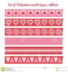 washi tape designs set of romantic valentine vintage washi tapes rib stock vector