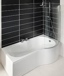 p shaped 1700mm shower bath front panel and curved glass screen