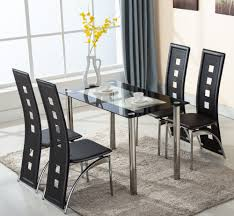 5 piece glass dining table set 4 leather chairs kitchen room 5 piece glass dining table set 4 leather chairs kitchen room breakfast furniture ebay