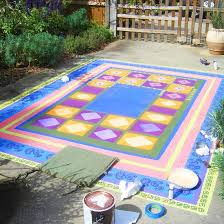 Painting An Outdoor Rug Concrete Painting Project Faux Floorcloth Better Homes And