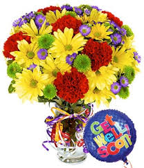 get well soon flowers best wishes bouquet with get well balloon at from you flowers