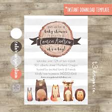 woodland baby shower invitation printable instant download
