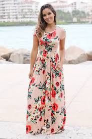 blush floral short sleeve maxi dress with pockets maxi dresses
