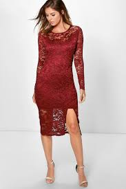 andi long sleeve lace split midi dress boohoo