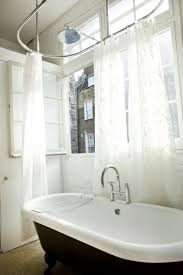 patterned transparent free standing bath shower curtain combined