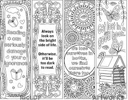 printable bookmarks for readers printable 8 coloring bookmarks four 4 with quotes and four 4