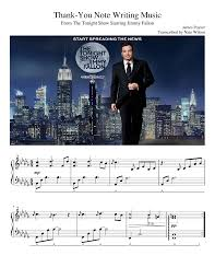 Thank You Letter Notes Samples thank you note writing music jimmy fallon musescore