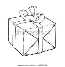 wrapped christmas present tied bow line stock vector 534678577