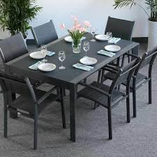 6 seater outdoor dining table garden table set janine grey 6 person aluminium glass extending