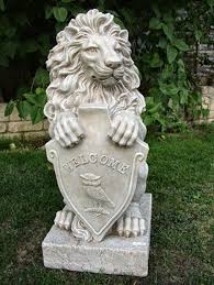 lion garden statue lion with welcome shield garden statues